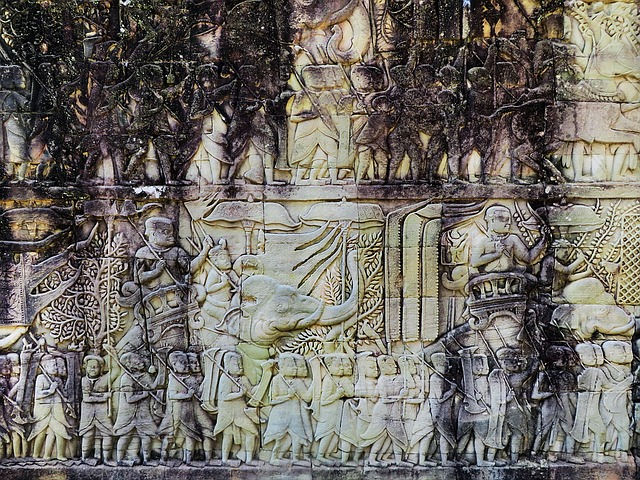 Cambodia, Angkor, Temple, Bayon, Bas-relief, Ruin