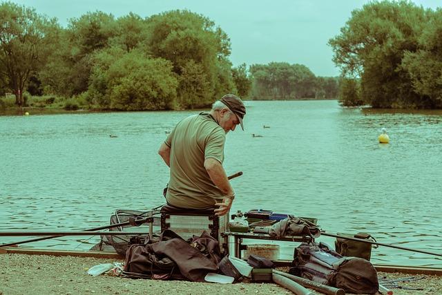 Fishing, Man, Fishing Gear, Water, Trees, Angler