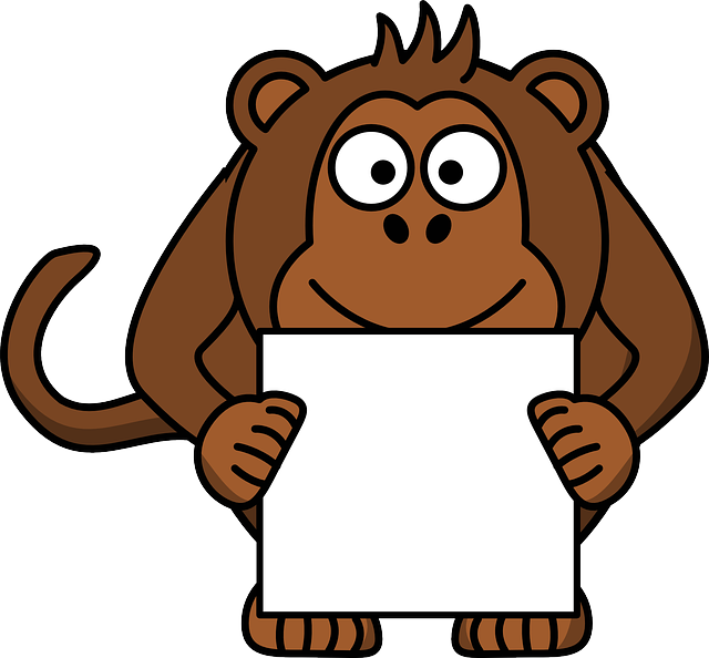 Monkey, Animal, Happy, Paper, Brown