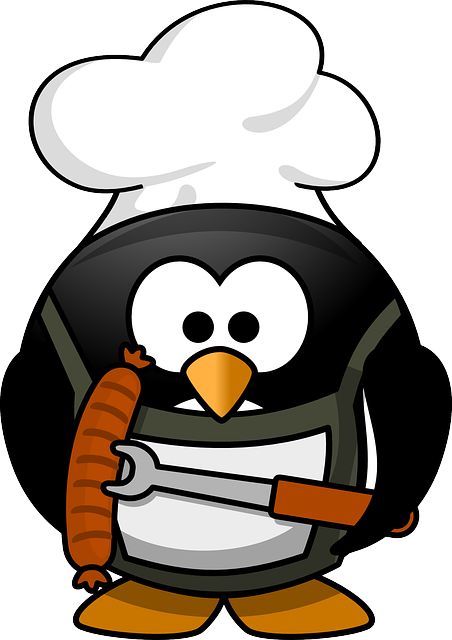 Penguin, Barbecue, Animal, Funny, Tux, Cook, Sausage