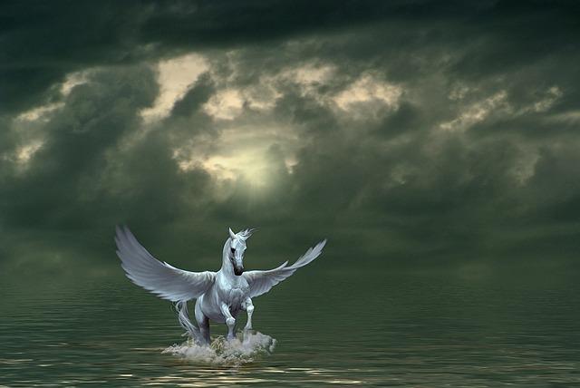 Pegasus, Composite, Horse, Animal, Dark, Sky