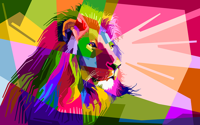 Animal, Colorful, Decoration, Lion, Design, Geometry