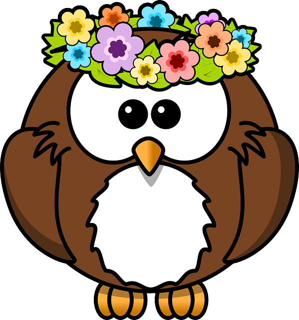Owl, Animal, Bird, Flowers, Funny, Garland, Spring