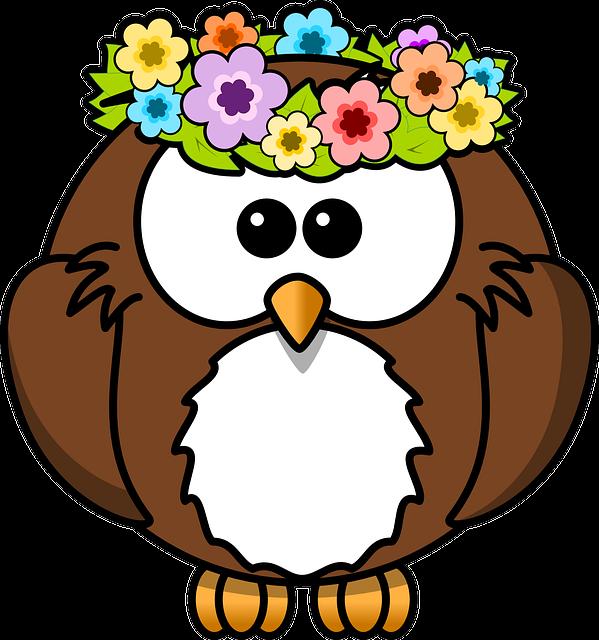 Owl, Animal, Bird, Flowers, Funny, Garland, Spring