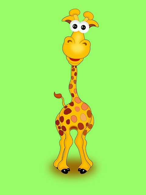 Giraffe, Animal, Funny, Happy, Yellow, Wildlife