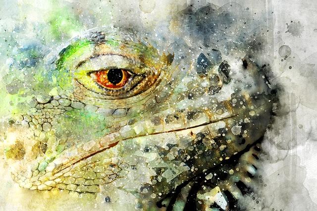Lizard, Watercolor, Green, Colorful, Animal