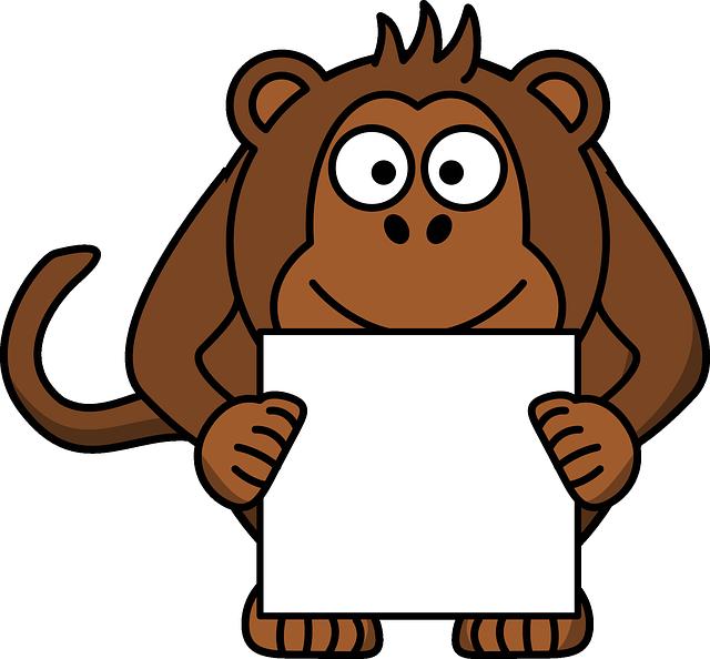 Monkey, Animal, Happy, Paper, Brown