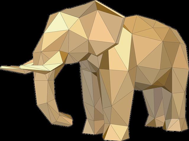 Elephant, Animals, Low Poly