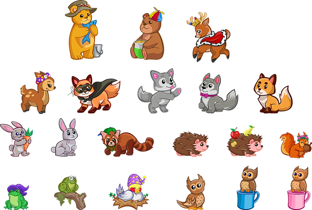 Animals, Rodents, Cartoon, Cute, Collection, Set, Comic