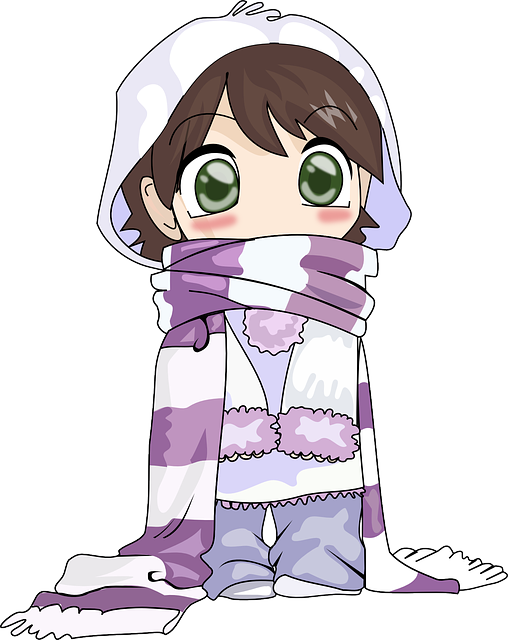 Girl, Cute, Cold, Winter, Anime, Scarf