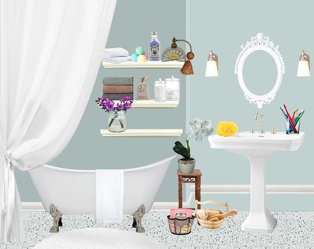 Bath, Bathroom, Flower Pots, Drapes, Antique, Perfume
