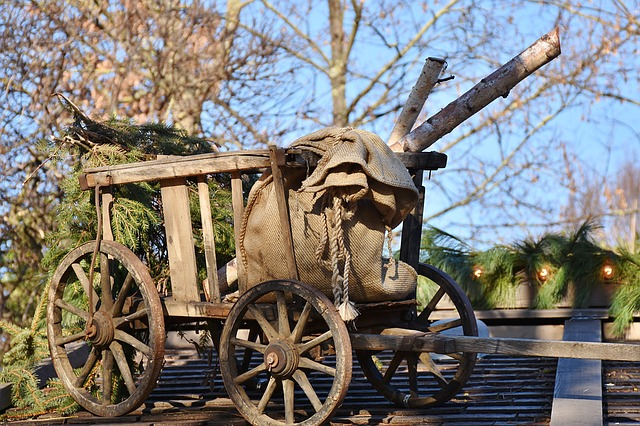Cart, Wood, Antique, Wagon Wheel, Spokes, Decoration