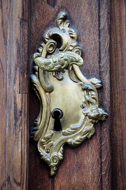 Door Handle, Door, Lock, Iron, Antique