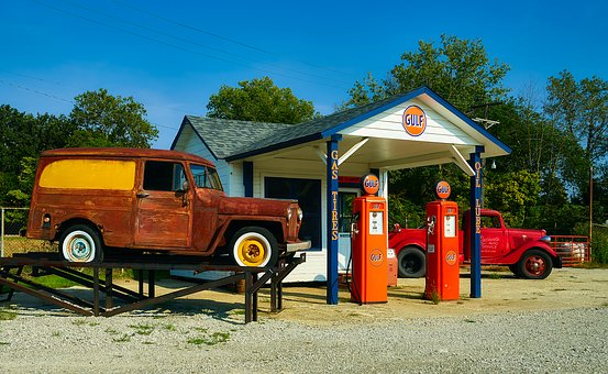 Gas Station, Vintage, Antique, Nostalgia, Pumps, Petrol