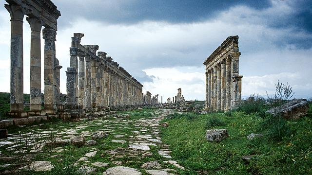 Syria, Apamea, Roman, Ruins, Sky, Blue, Archaeology