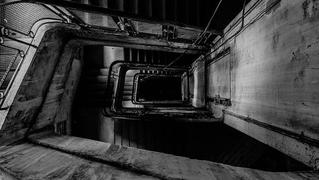 Condominium, Apartment, Hole, Black And White, Stair