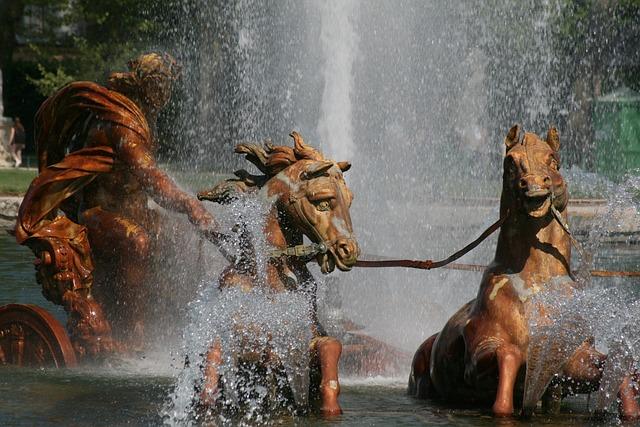 Apollo God, Horses, Fountain, Versailles, Paris, France
