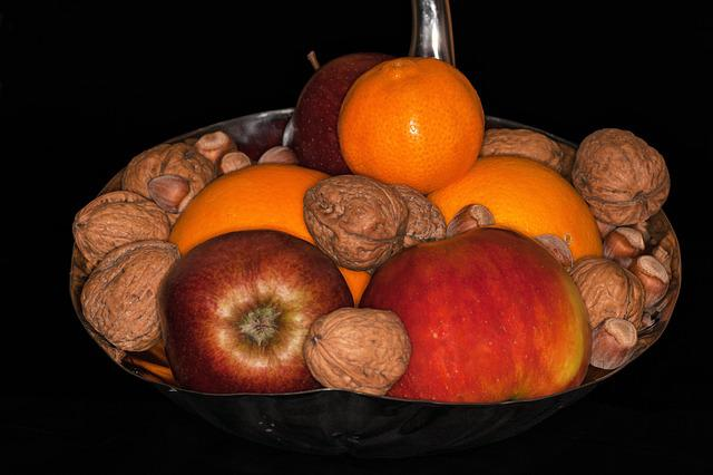 Shells, Fruit Bowls, Food, Apple, Still, Nuts