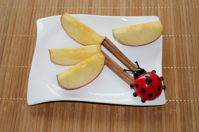 Plate Decoration, Apple Slices, Cinnamon, Ladybug