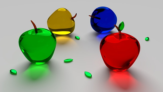 Apple, Glass, Fruit, Food, Transparent, Wallpaper, 3d