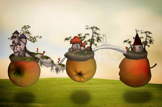 Apple, Apple World, Fantasy, Surreal, Fairy Tales, Ants