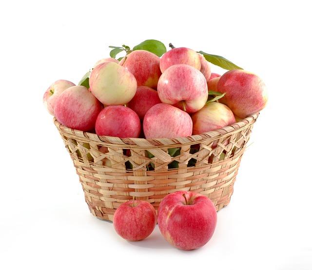 Apples, Basket Full, Set, Crop, Food, Fruit, Autumn