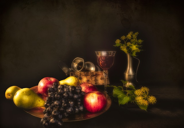 Still Lifes, Fruit, Pears, Apples, Grapes