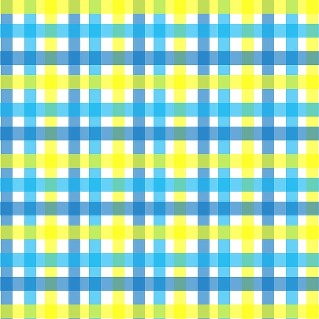 Gingham, Plaid, Yellow, Aqua, Blue, White, Lines