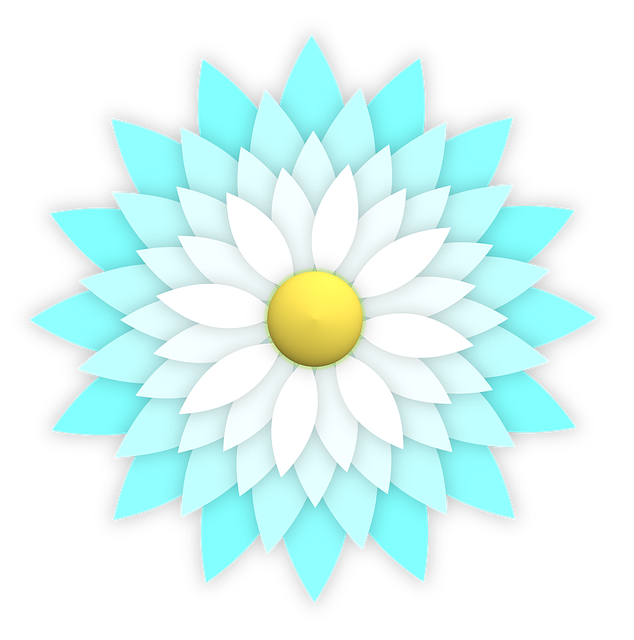 Flower, Ornament, Aqua, Blue, Turquoise, Cyan, White