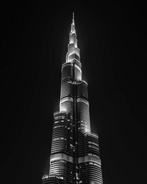 Dubai, Night, Black And White, Emirates, Arabs