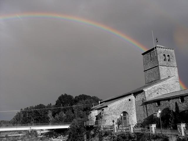 Santa Cilia, Aragon, Church, Rainbow