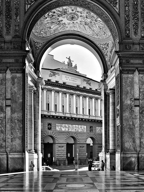 Naples, Gallery, Teatro, Italy, Arc