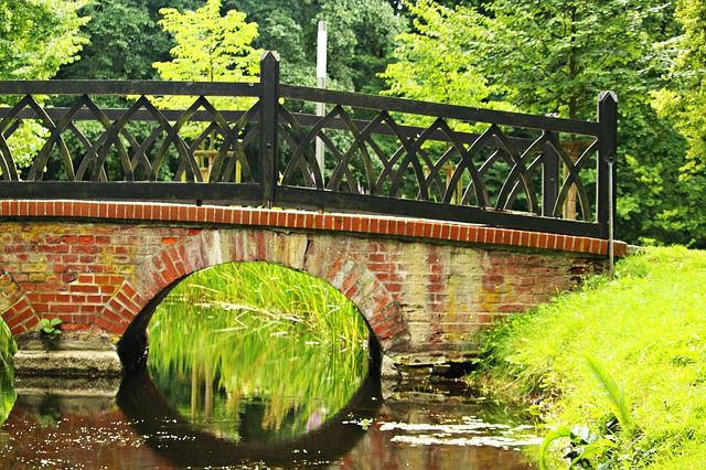 Bridge, Water, Arch, Brick, Park, Castle Park