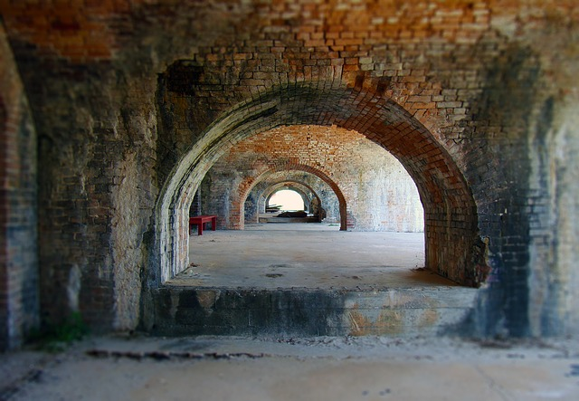 Tunnel, Arch, Bricks, Military Fort, Brick Walls