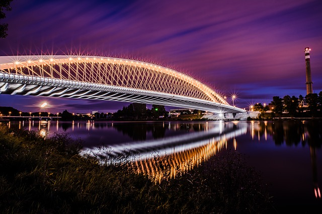 Bridge, River, City, Architecture, Reflection, At Night
