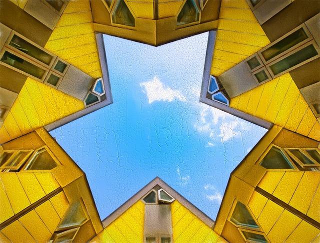Rotterdam, Cube, Yellow, Architecture, Building, Modern