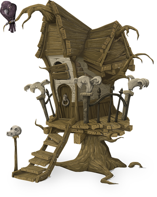 Tree House, Home, Building, Architecture, Spooky