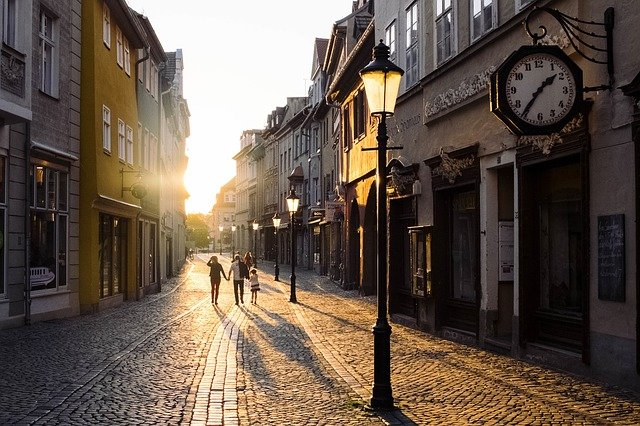 Architecture, Buildings, Old, Town, Sunset, Street