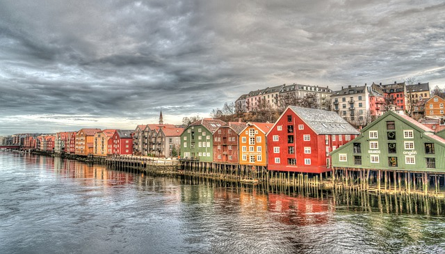 Trondheim, Norway, Architecture, Bridge, Colorful