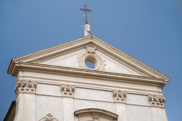 Church, Roof, Cross, Deer, Animal, Symbol, Architecture