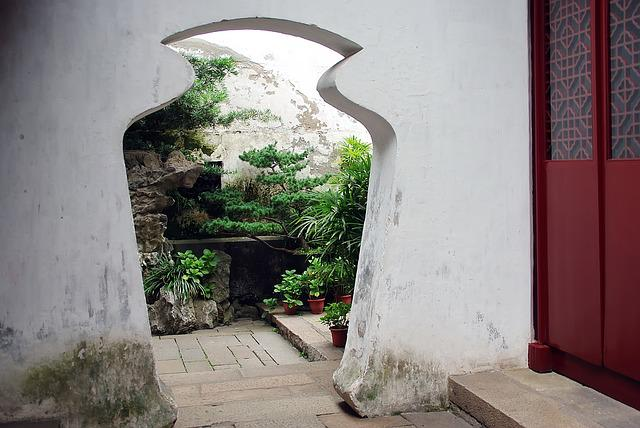 China, Suzhou, Door, Architecture, Door-vase, Garden