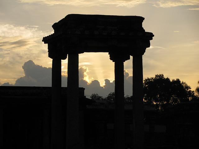 Columns, Sunset, Belur, Historic, Evening, Architecture