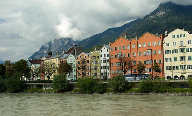 Austria, Innsbruck, Facades, Architecture, Tyrol, River