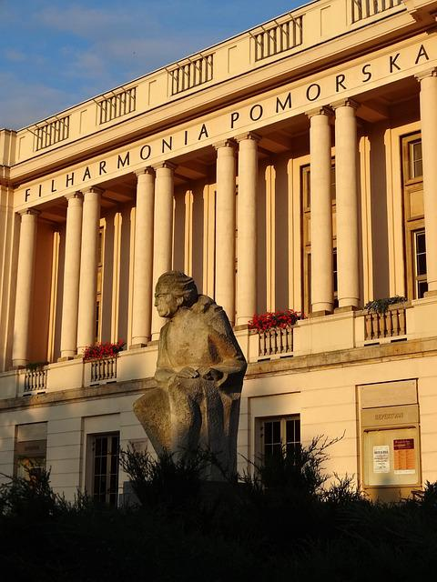 Filharmonia Pomorska, Front, Sculpture, Architecture