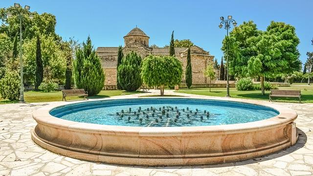 Fountain, Square, Park, Church, Architecture