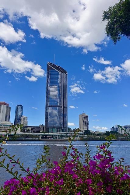 Skyscraper, Brisbane, River, Architecture, Modern