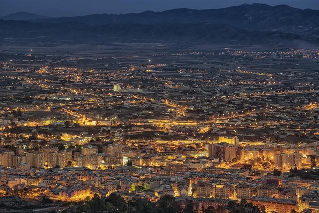 City, Night, Architecture, Urban, Lorca, Murcia