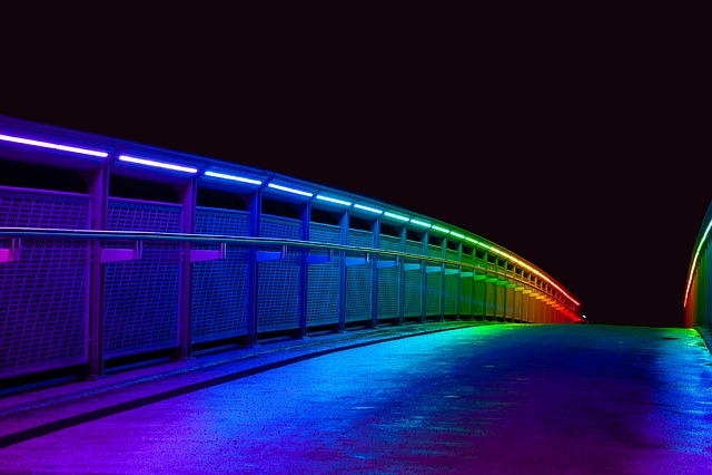 Bridge, Illuminated, Colorful, Night, Architecture
