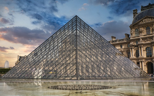 Pyramid, Paris, Louvre, France, Architecture, Museum