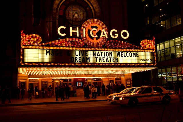 Chicago, Theater, Chicago Night, Architecture, Street